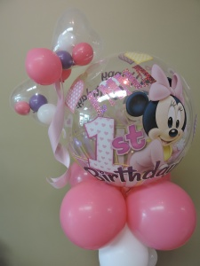 First Birthday Balloons for Minnie Mouse Party