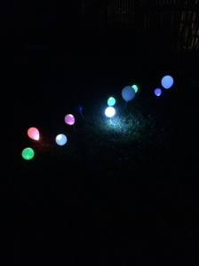 Path of LED balloon lights
