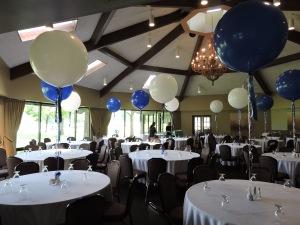 Blue and White Balloon Centerpiece