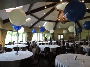 Blue and White Balloon Centerpiece