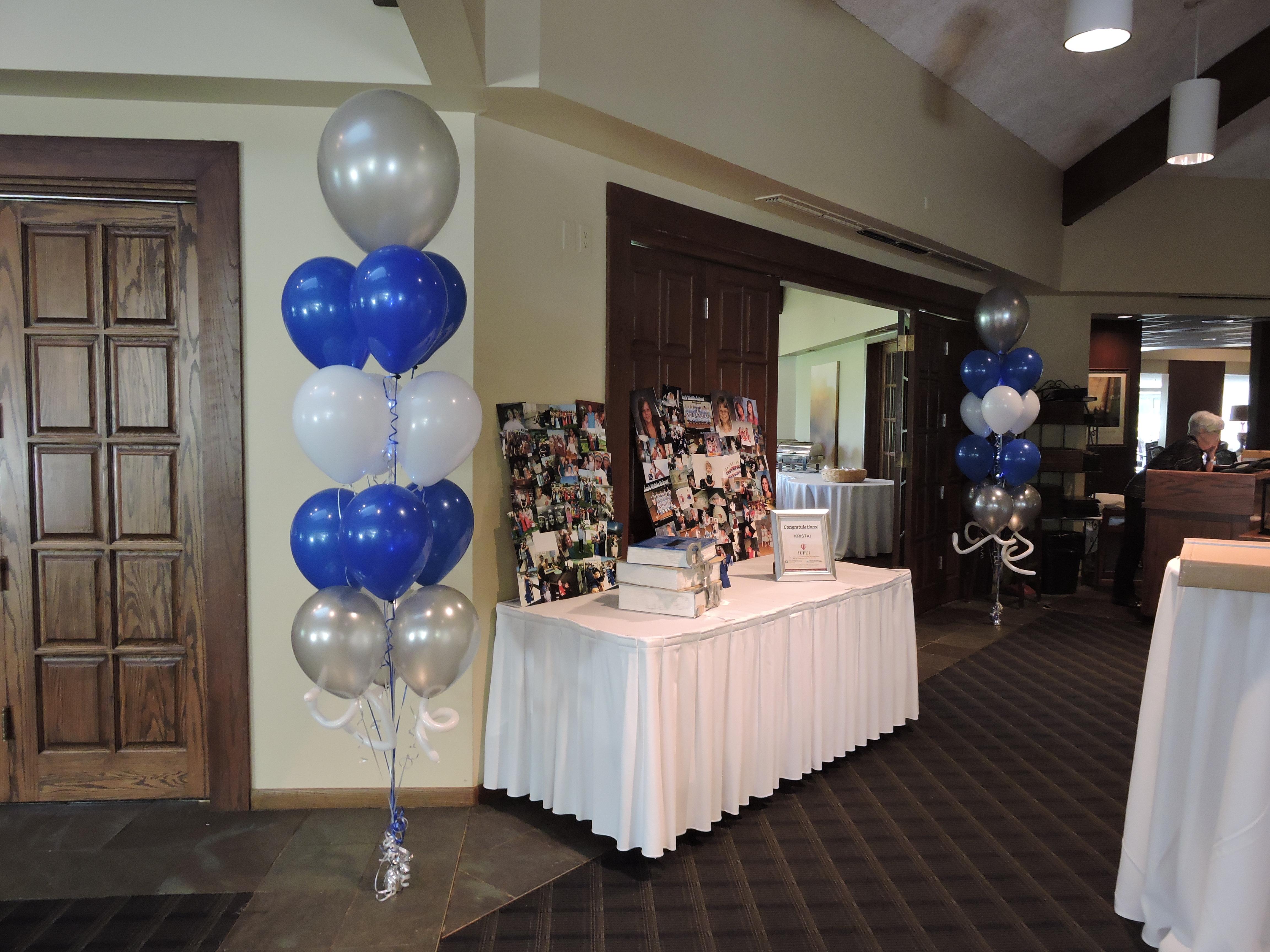 Graduation balloon decor nwiballoons for Balloon arrangement ideas